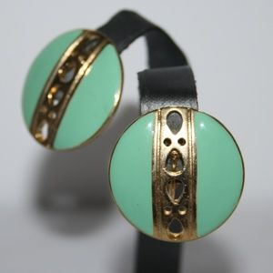 Beautiful vintage gold and teal earrings